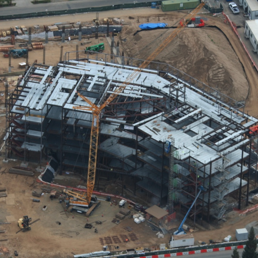 arial photo of the current production of the new court house