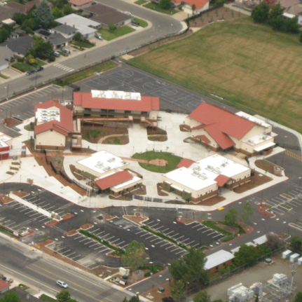 image of an arial view of the school campus