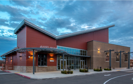 a night shot of the Natomas High School Theater